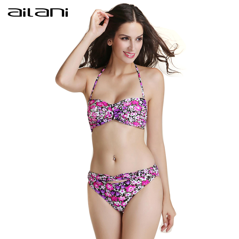 Summer Beachwear Bikinis Set Women 2016 New Woman Tight Halter Swimming Suits Top Hot Sale Floral Bathing Suits For Women AL195(China (Mainland))