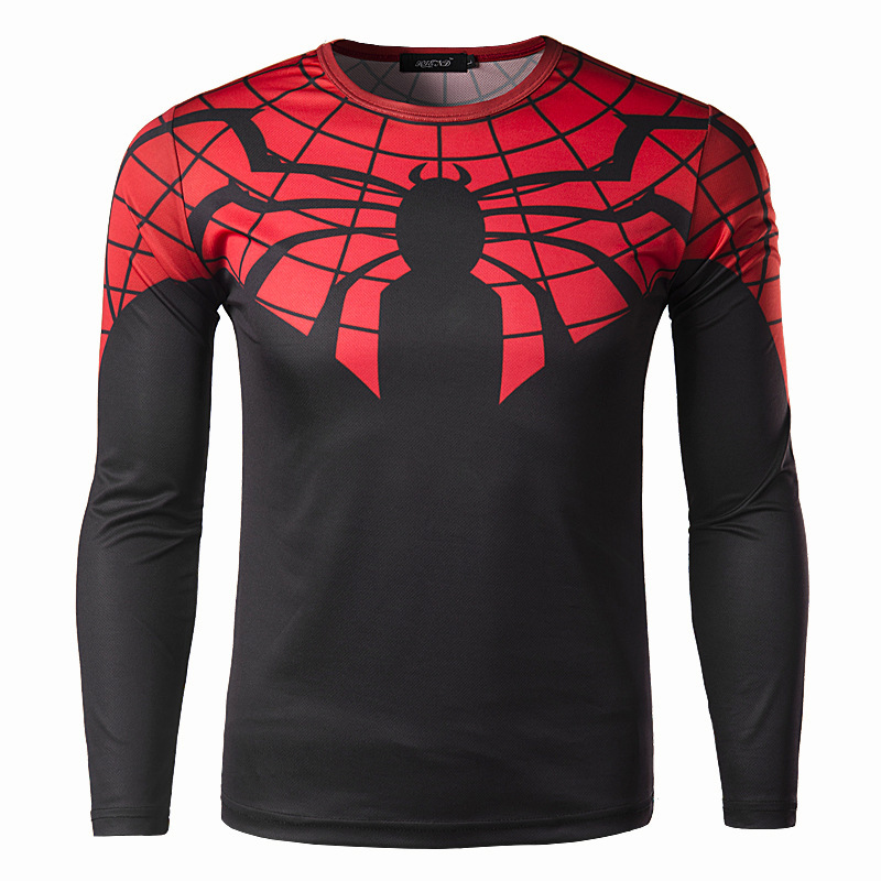 Cool spider printed long sleeve 3d t shirt men 2016 new for Cool long sleeve t shirts for men