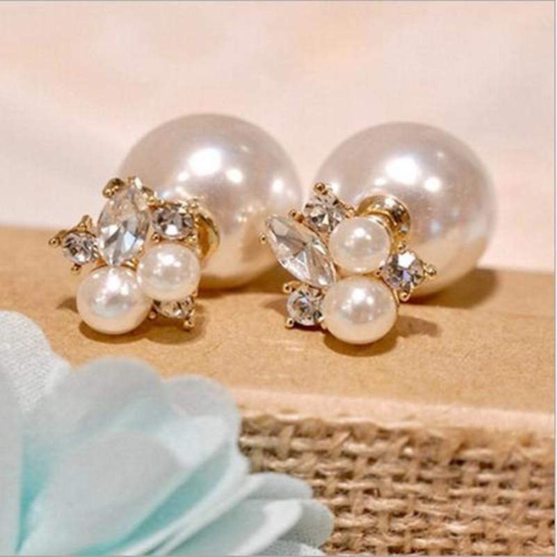 1 пара мода модный двойными бортами жемчужной сережкой два шарика серьги стержня для девочек кристаллические ювелирные изделия бесплатная доставка