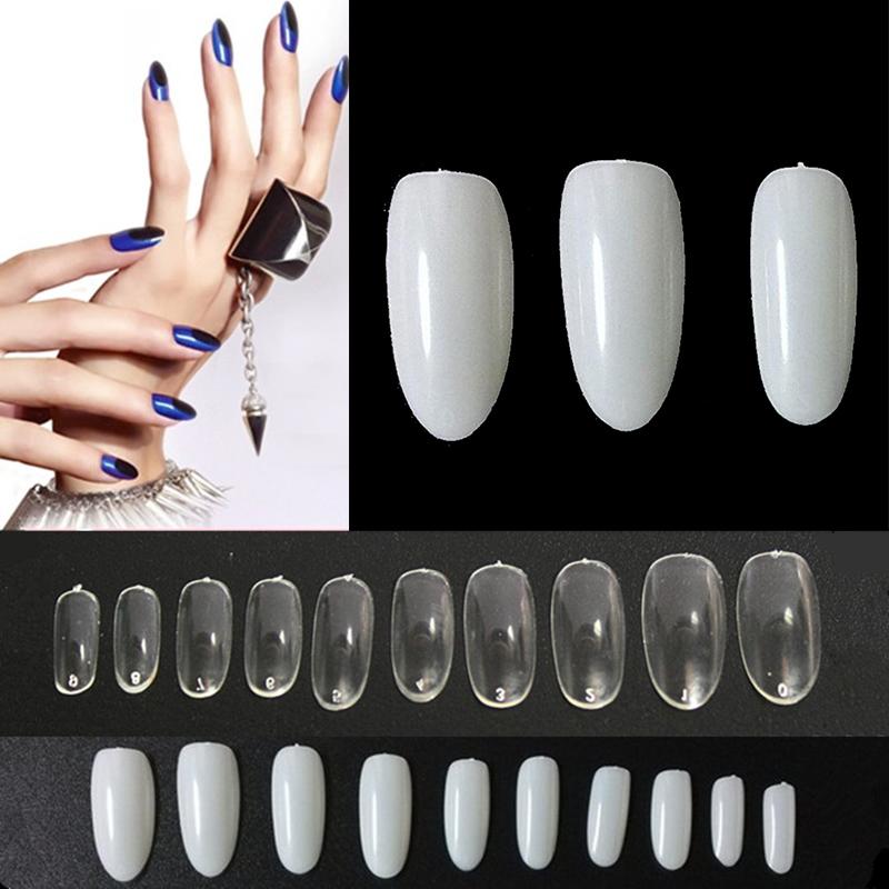1 Bag 500 PCS French Artificial Full False Nail Art Tips UV/Acrylic Oval Shaped M01918