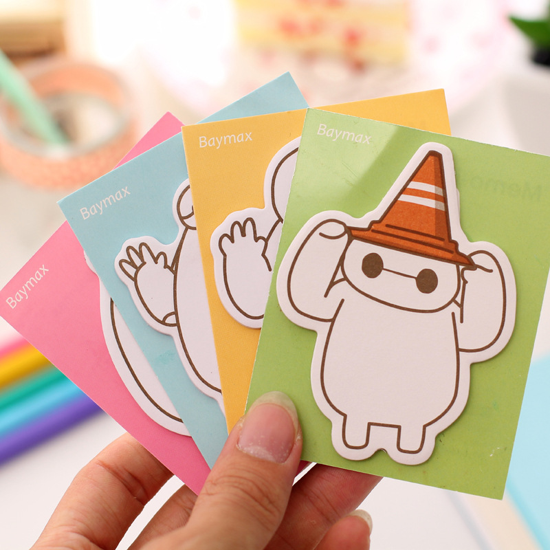 1 Pics Cute Kawaii Baymax Japanese Stationery Korean Sticker Sticky Note Paper Diary Post It Colored Notes Writing Memo Pad(China (Mainland))