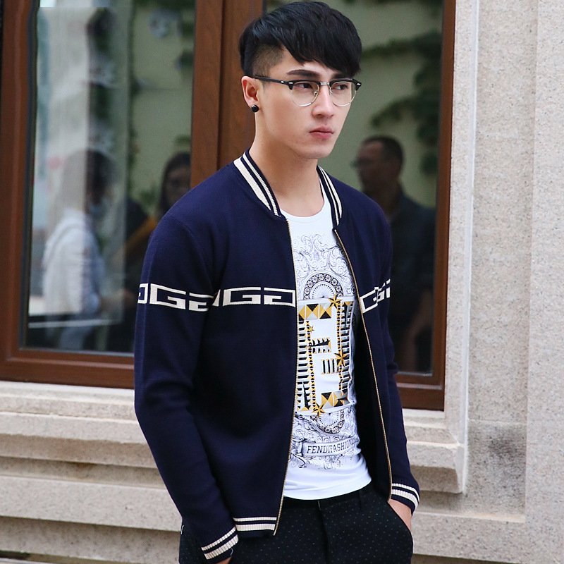 2016 The New Casual Fashion Zipper Car digan Sweater Slim Korean Men's Baseball Clothes Casual Sweater Coat Free Shipping(China (Mainland))