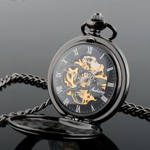 Retro Men s Alloy Hollow Steampunk Skeleton Mechanical Analog Quartz Pocket Watch Silver Fashional Design