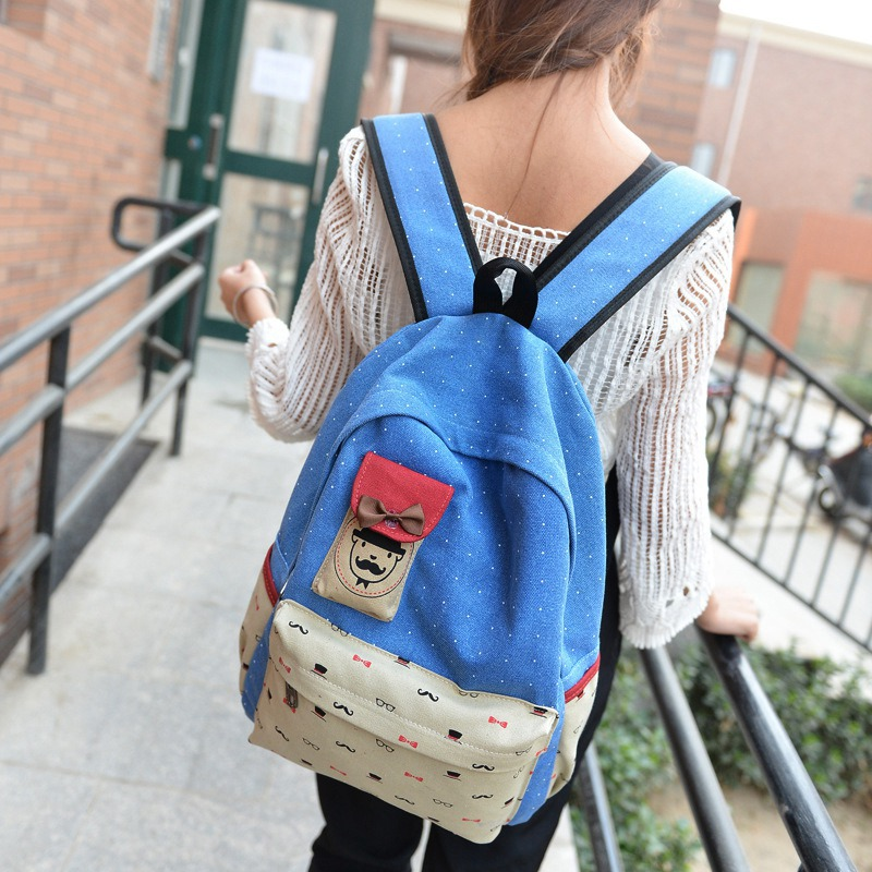 2015 New Korean Institute Of Wind Tide Canvas Cartoon Image Of The Soft Casual Travel Bag Student Backpack Daily Outdoor(China (Mainland))