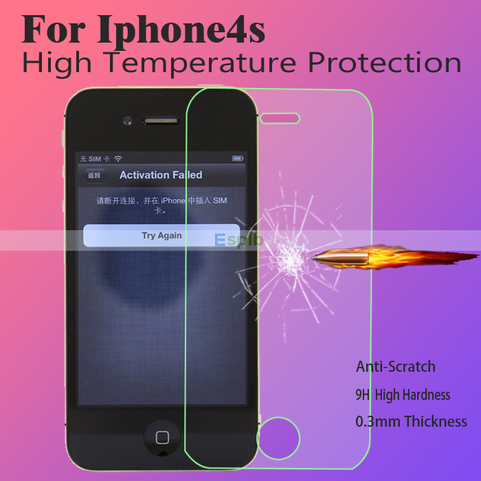 0.3mm Super Thin Premium Tempered Glass Screen Protector Film for iPhone 4 4S + Clean Tool with Strong Box