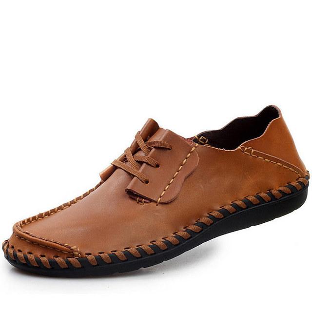 Высокое качество свободного покроя мужской обуви из натуральной кожи удобные квартиры ...