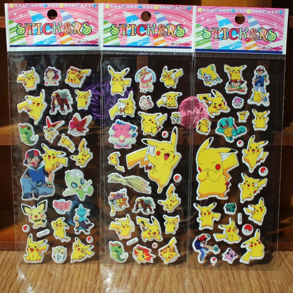 Pikachu Sticker Pokeball Cartoon 3D Model PokeballToy Pikachu Sticker Children Kids Baby Best Gift Free shipping(China (Mainland))