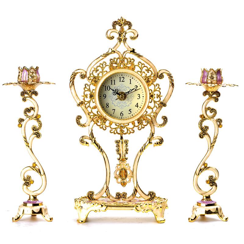 New 2015 fashion retro clock antique wrought iron clock vintage home decor candlestick - Antique clock designs for your home ...