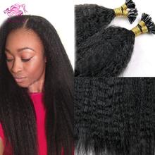 Luffy Hair Keratin Kinky Straight Fashion U Tip Hair Extensions Human 1g/s 100 strands/lot Indian Remy Human Virgin Hair U Tips(China (Mainland))