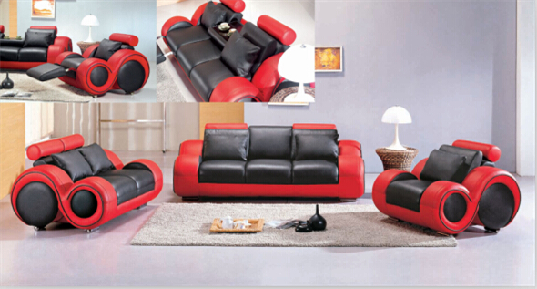 Modern recliner leather sofa set with bonded leather Black&Red(China (Mainland))