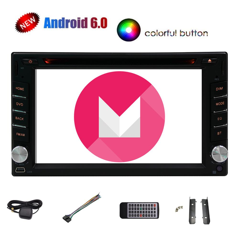 Quad Core Android 6.0 Auto Car Radio Stereo Double 2Din Head Unit with 6.2 inch Support GPS Navigation SWC WIFI 4G 3G DVR CAM-IN