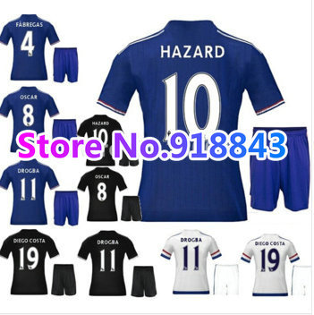 New arrival 15/16 Chelsea kits home blue soccer jersey kits best away quality football uniform Embroidery HAZARD DROGBA FABREGAS(China (Mainland))