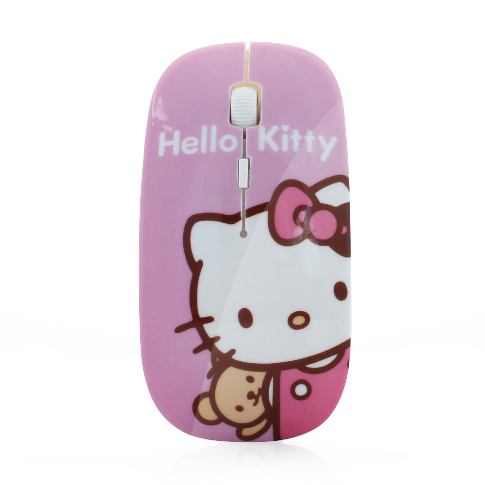Big Sale! 2.4Ghz Ultra Thin Slim Women Wireless Mouse Sem Fio Mini Pink Hello Kitty Mice Mause for Computer Girl Gift(China (Mainland))
