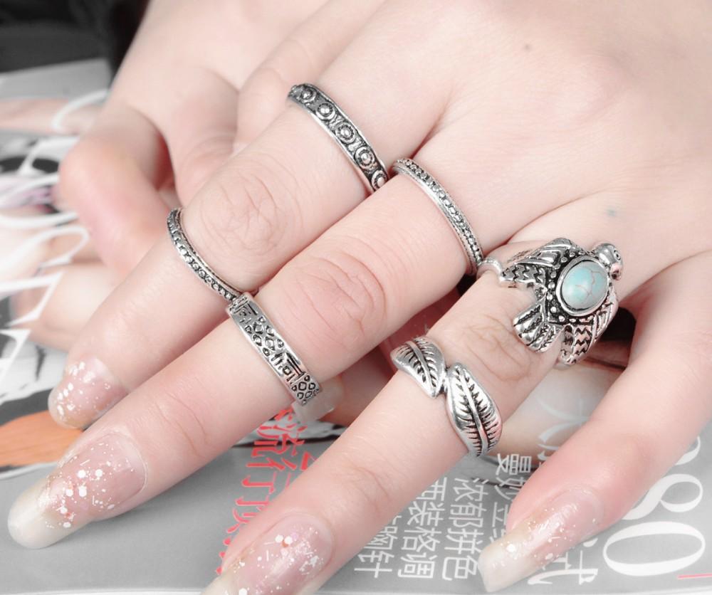 Retro Boho Ethnic Rings for Women Antique Silver Eagle Turquoise ...