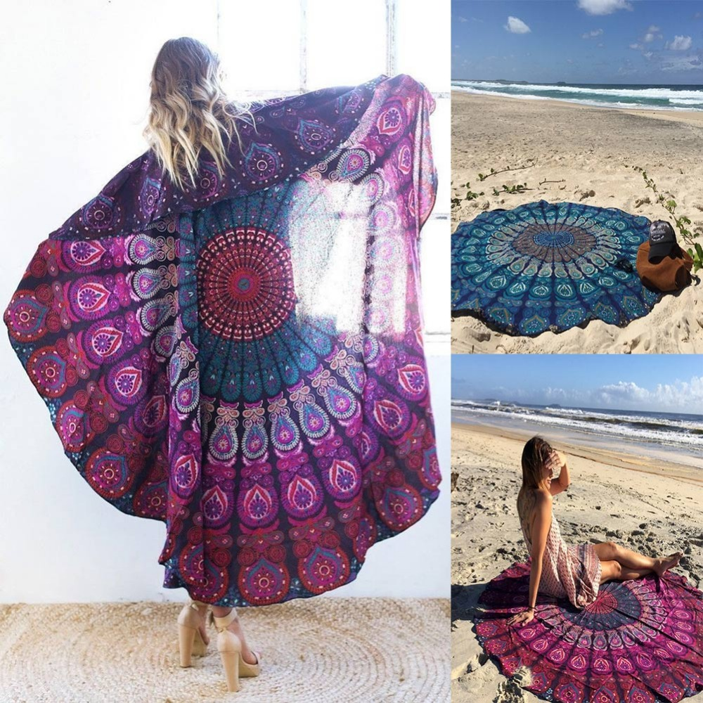 2016 Women Scarf Beach Bandana Girls Charming Relax Circle Beach Towel font b Plaid b font