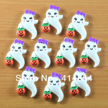 Wholesale Lot 50 pcs Ghost Girly Boo w/ Pumpkin Halloween Party Resin Cabochon Flatbacks Flat Back Hair Bow Center Crafts Making