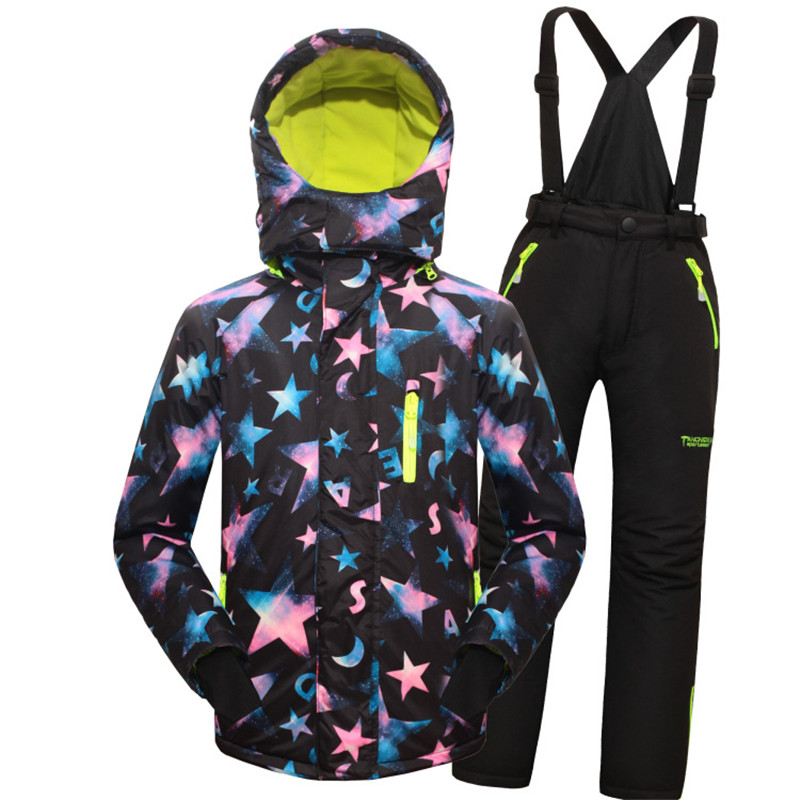 Children skiing jacket Minus 25 Degrees Warm Coat Sporty Ski Suit Kids Clothes Set Waterproof Windproof Boy Girl outwear Jackets(China (Mainland))