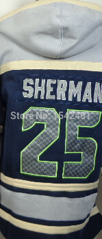Richard Sherman hoodie Seattle Authentic winter sport suit mens blue white American Football hoodies sweatshirt Stitched 25(China (Mainland))