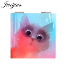 JWEIJIAO Painting Cat Pocket Mirror Cute Animal Picture Makeup Mirror Mini Folding Square 1X/2X Magnifying PU Leather(China)