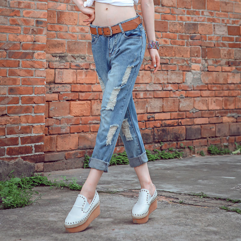 women's boyfriend jeans pant 2015 hole ripped loose ladies fashion denim harem torn boyfriends women Female - Ruisun Group CO., Ltd. store