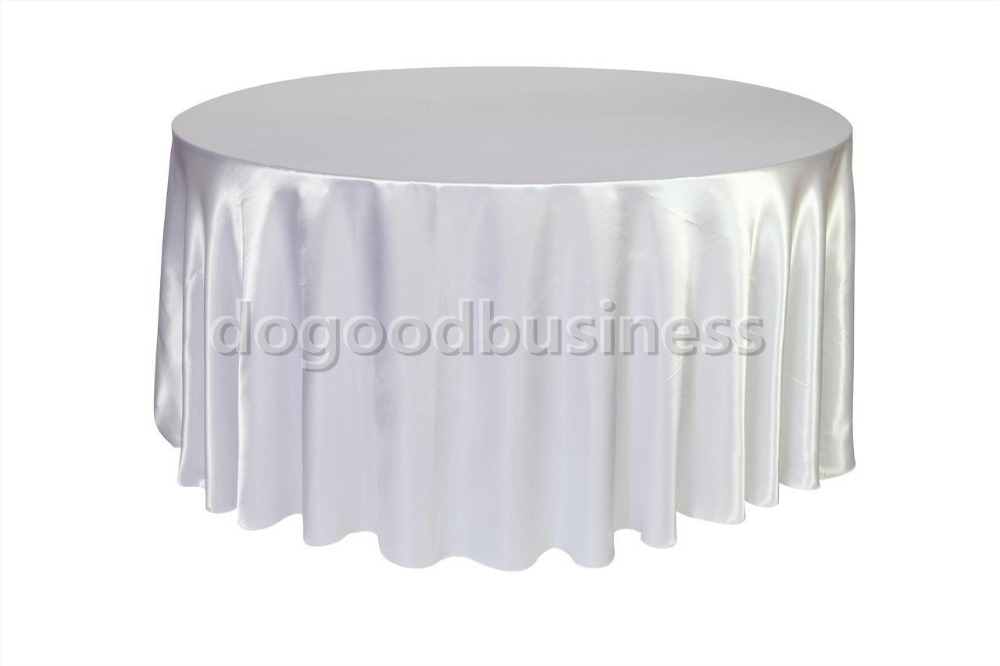 10pcs pack black white 120 inch round satin tablecloths for 120 inch round table cloths