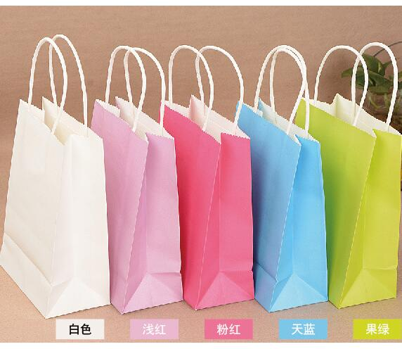 40PCS/lot 21x15x8cm Kraft paper bag with handles Festival gift bag for wedding birthday party/High Quality jewelry paper bags(China (Mainland))