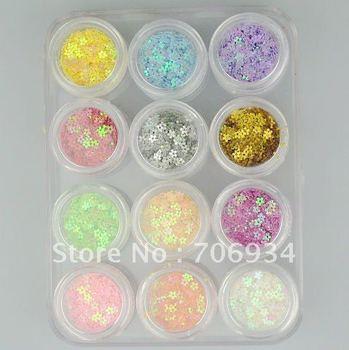 12 colors Star Nail Art Glitter Spangle With Hard Case Glitter Deciration For Nail Art 3pcs/lot