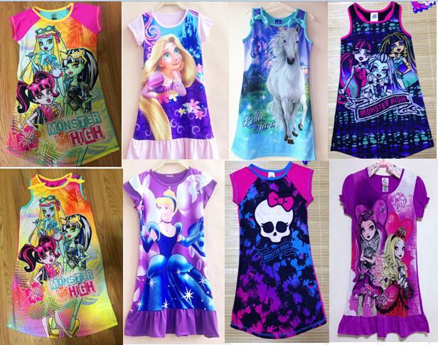 Hot pajamas Summer Nightgowns Fashion Princess child print Cartoon nightdress for girls sleepwear kids Pajama Tops baby Robes(China (Mainland))