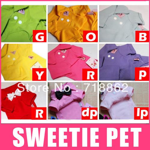 9 цветов оптом Одежда для собак 100% комфорт хлопка поло футболки любимчика одежды XS,S,М,L