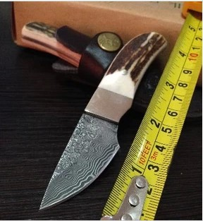 Free Shipping Browning Antlers Full Tang Damascus Hunting Knife Camping Fishing Survival Outdoor knives