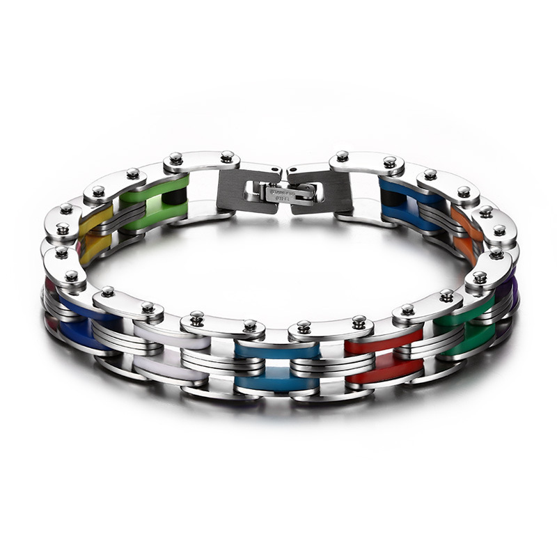 Silicone Stainless Steel Bracelet Men Bangle Rainbow Color 316L Stainless Steel Clasp Bracelet Fashion Bracelet For Men(China (Mainland))