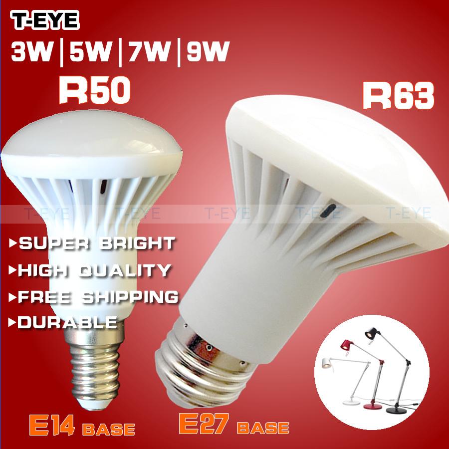 SMD 2835 led bulb e14 base r50 led lamp E27 r63 led bulbs 3W 5W 7W led lamp light Energy saving AC 110v 220v 240v free shipping(China (Mainland))