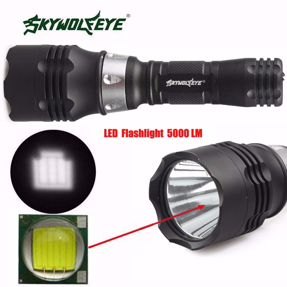 Yeni LED El Feneri 5000 Lümen 60 m CREE T6 LED Dalış El Feneri Torch Scuba Işık Lambası Zumlanabilir LED Torch Su Geçirmez