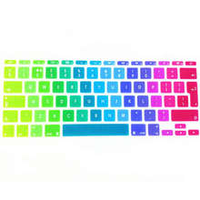 Rainbow Silicone UK EU Keyboard Cover Skin Protector Sticker Protective Film For Apple Mac book Air 11.6″ for macbook 11″