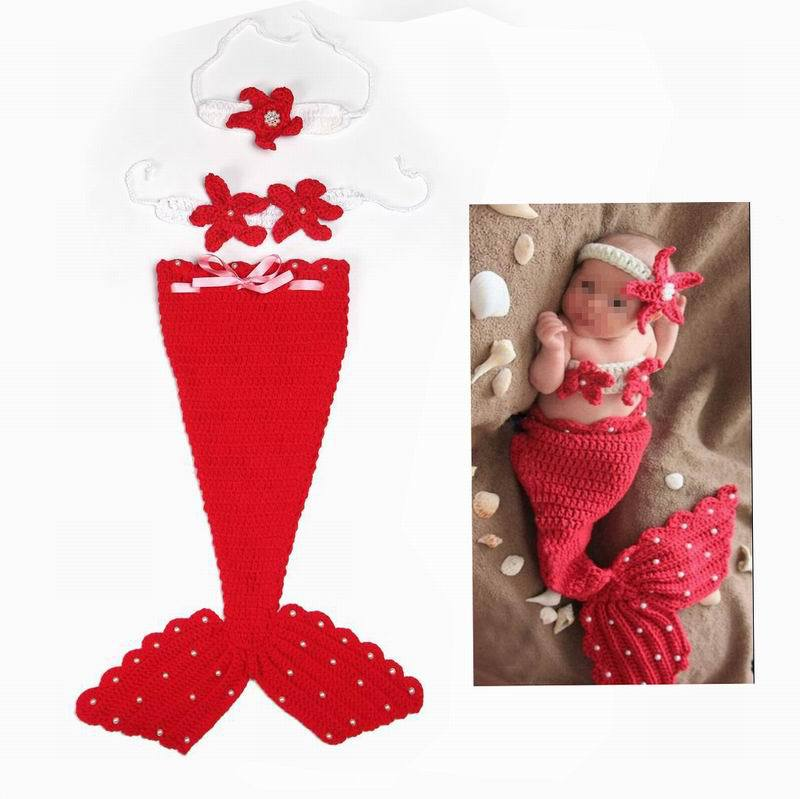 Lovely Mermaid Handmade Cotton Infant Crochet Headwear Clothes Costume Beanies Newborn Photography Prop(China (Mainland))