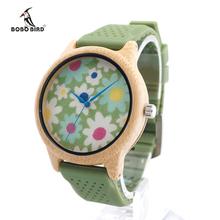 Brand Dress Casual BOBO BIRD Quartz Clock Female Popular Relogio Luxury Bamboo Ladies Wristwatches Silicone Strap Fashion Watch