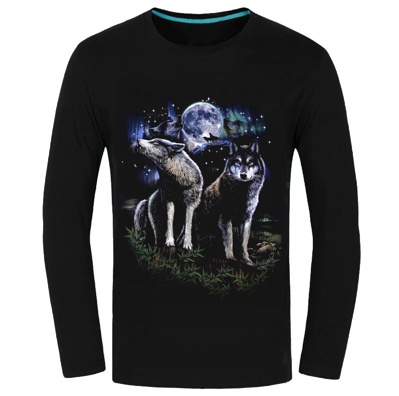 Autumn Animal Tiger Wolf Luminous Fluorescence T Shirt HQ Men Long Sleeve Tees 3D Fashion O