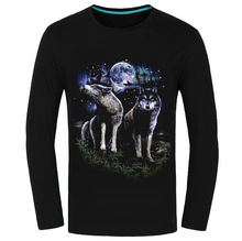 Autumn Animal Tiger Wolf Luminous Fluorescence T Shirt HQ Men Long Sleeve Tees 3D Fashion O Neck T-shirt Game High Quality