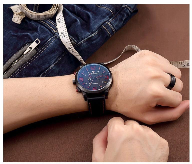 LONGBO Авто Дата Повседневная Наручные Часы Мода Мужчины Geniune Кожа Кварцевые Часы Водонепроницаемые Синие Стеклянные Часы Relogio Masculino 80192