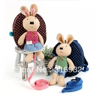 I4 Hot sale super le sucre rabbit removable doll children backpack, 1pc