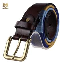 Buy 2017 Hongmioo Men Brand Belt Luxury Mens Belts Womens Belt Unisex Handwork Sewing Belt Colorful Line Pins Buckle for $22.72 in AliExpress store