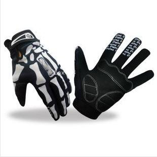 2015 Free Shipping Outdoor Sporting Cool Bones Pattern Full Finger Gloves Motorcycling Cycling Skiing Gloves(China (Mainland))