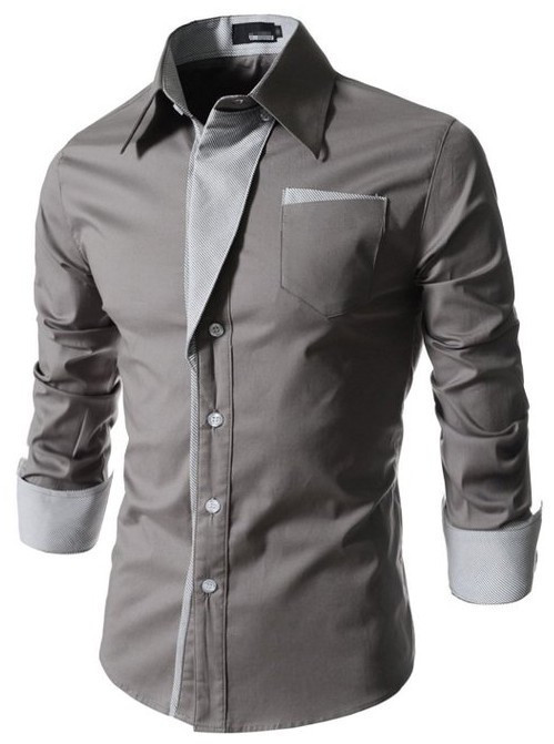 New 2015 Mens Casual Pin Stripe Patched Pocket Slim Casual Shirts Long Slevee Shirt men 7