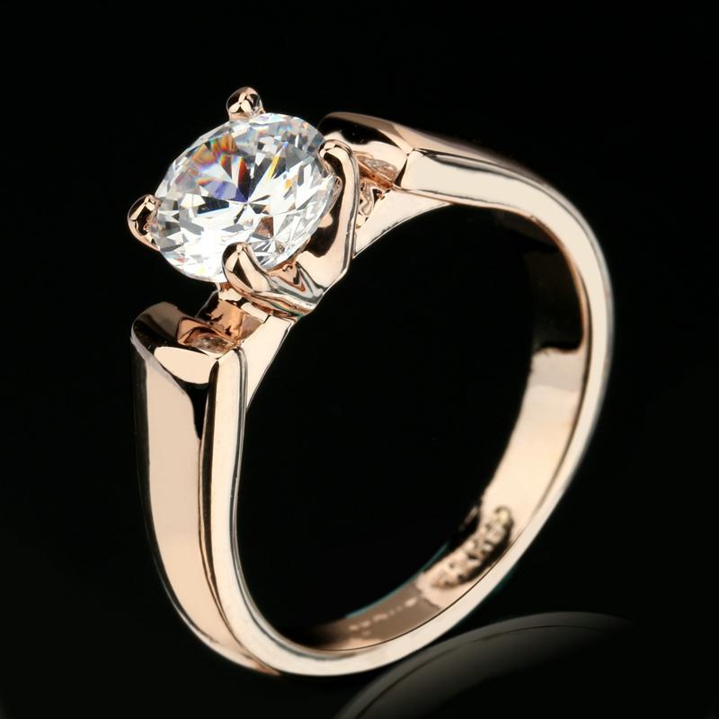 Гаджет  Classic Elegant Cubic Zirconia Engagement Ring Wholesale Gold Plated Crystal Fashion Wedding Jewelry For Man and Women DFR054 None Ювелирные изделия и часы