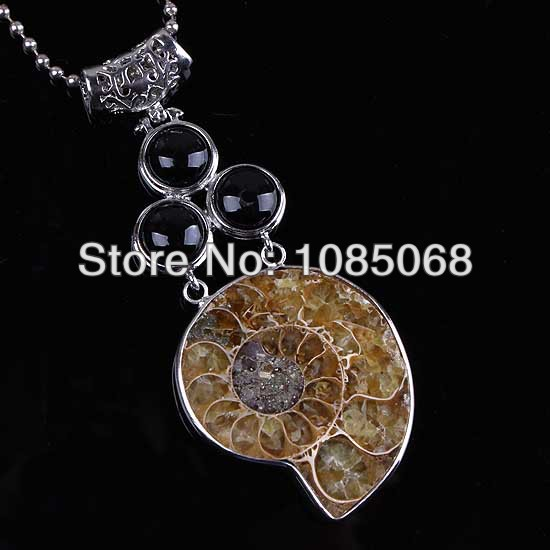 wholesale 10Pcs Silver Plated Natural Druzy Ammonite Fossil The black agate precious stone Beads Pendant Jewelry(China (Mainland))
