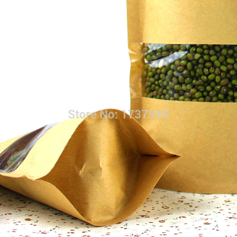 Zip Lock Bags 10pcs/lot 12cm*20cm+4cm Bottom *140mic High Quality Food Kraft Paper Bags With Window Stand Up With Zipper Bags(China (Mainland))