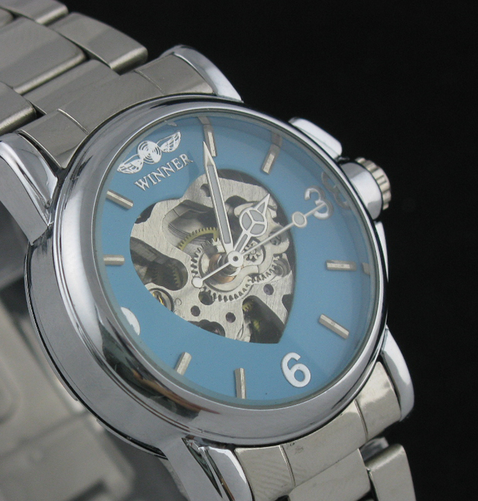 Classic Lady Women's Skeleton Automatic Mechanical Watch Stainless Steel Band Cute Style Ladies Watch Gifts(China (Mainland))
