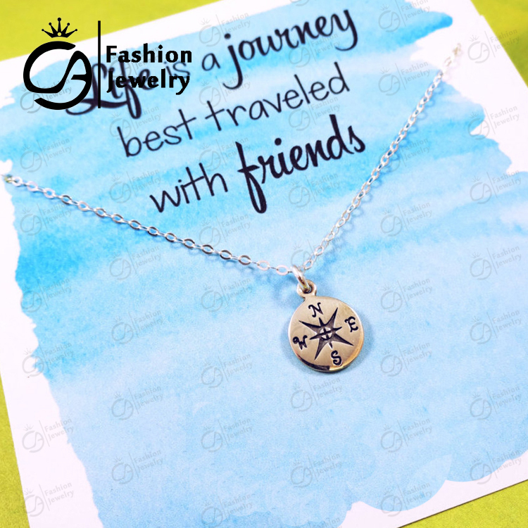 2015 Trend Compass Charm Necklace Friendship Best Friend Graduation Gift for Grads Hand Stamped Gift for Her 20Pcs/lot #LN1071(China (Mainland))