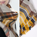 Winter Women Plaid Scarves Large Tartan Scarf Pashmina Warp Shawl Acrylic Black Checked Warm Scarf For
