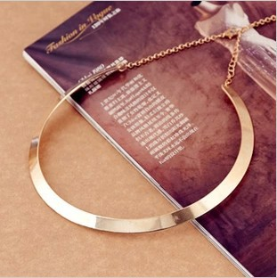 Fashion Making simple shape metal texture collar necklace (narrow version of gold) Free Shipping 2016 New necklace Jewelry X107(China (Mainland))